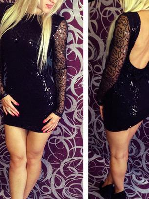 черное блестящее платье, платье с открытой спиной
