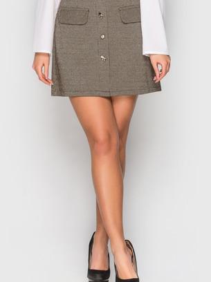 стильная коричневая мини-юбка