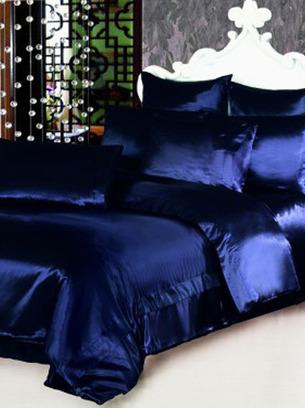 атласное постельное темно-синее