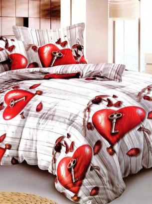 постельное с сердцем, постельное белье сердечки