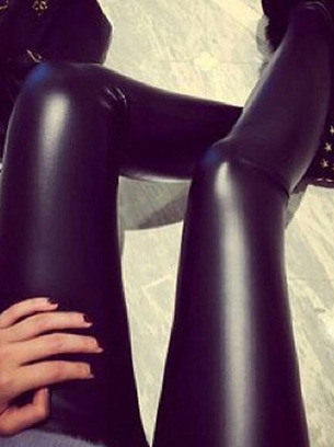 кожаные лосины на меху, модные лосины из кожи