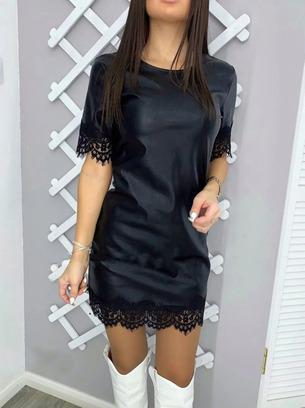 кожаное платье с кружевом