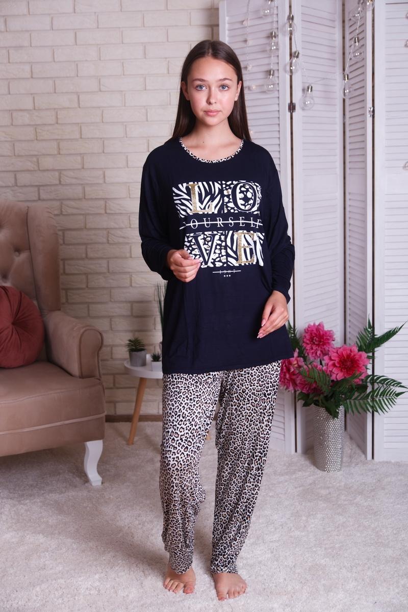 Красивая женская батальная пижама с леопардовым принтом