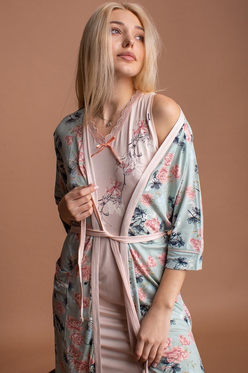 Нереальный нежный женский комплект с халатиком и сорочкой