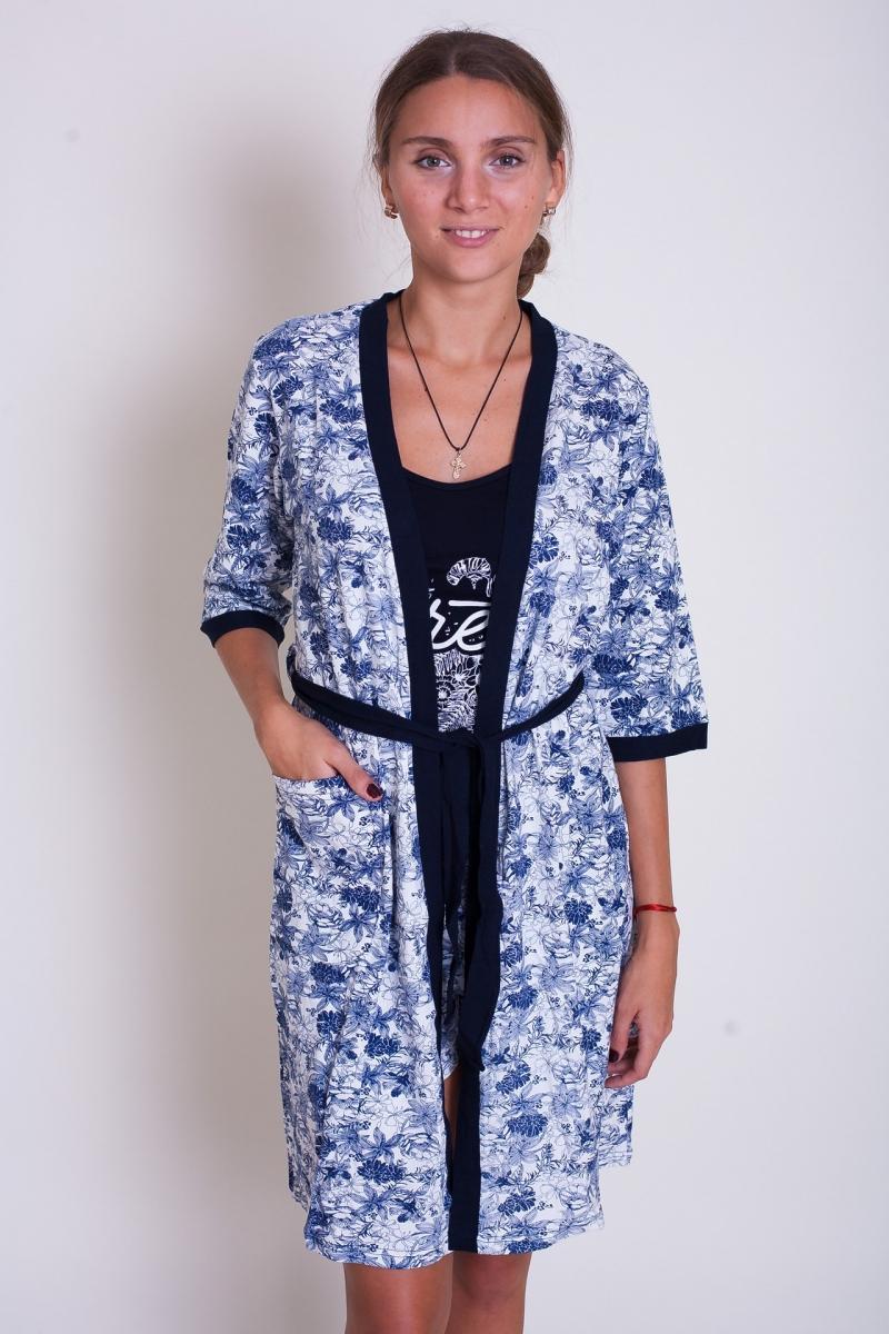 Шикарный женский комплект халат+шорты+майка
