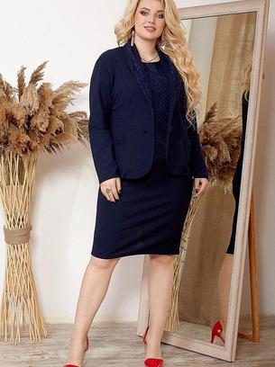 Стильный женский костюм тройка с гипюровой кофтой больших размеров