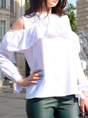 белая блузка с длинным рукавом, блуза с воланом, белая блузка с воланом