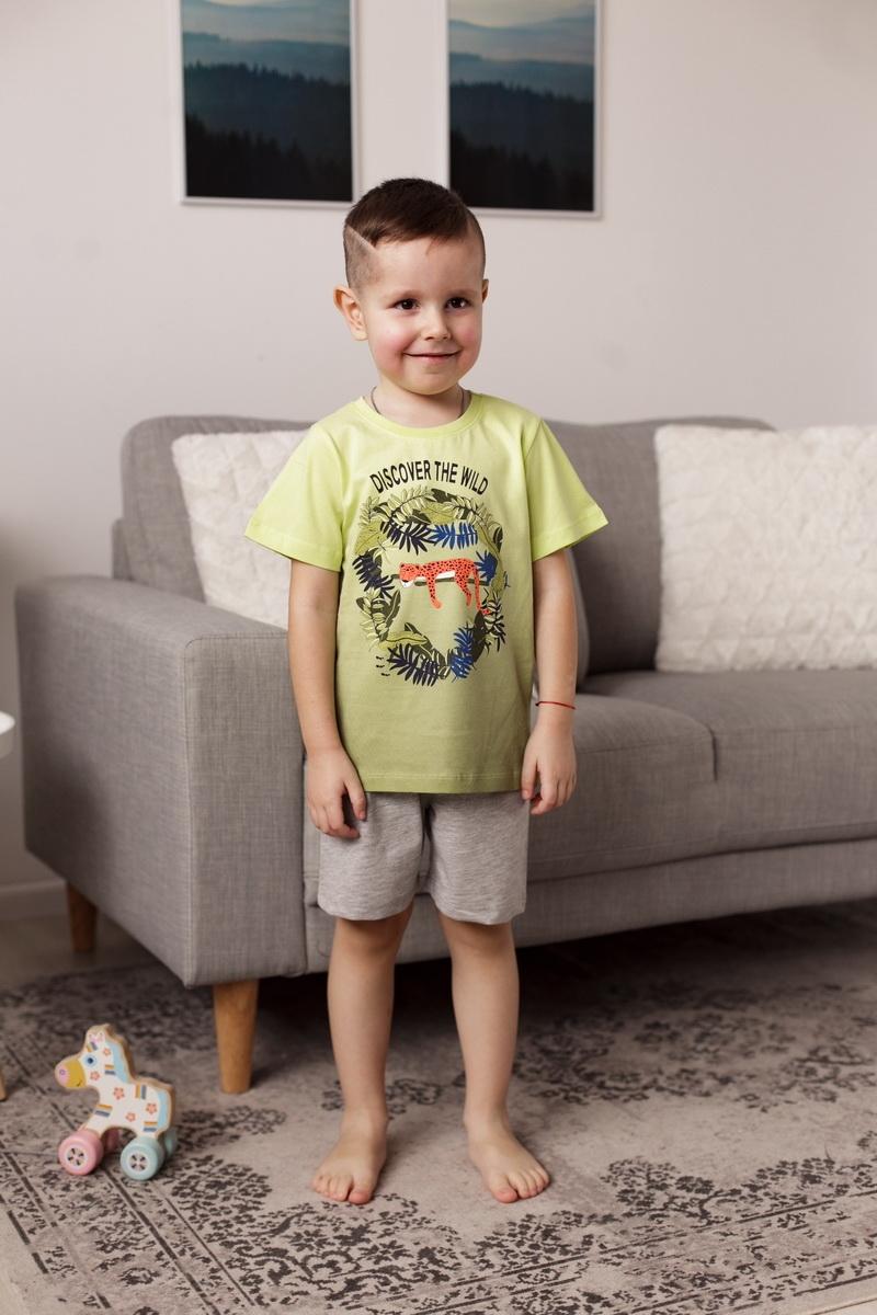 Шикарный комплект с шортиками и футболкой для мальчика c гепардом