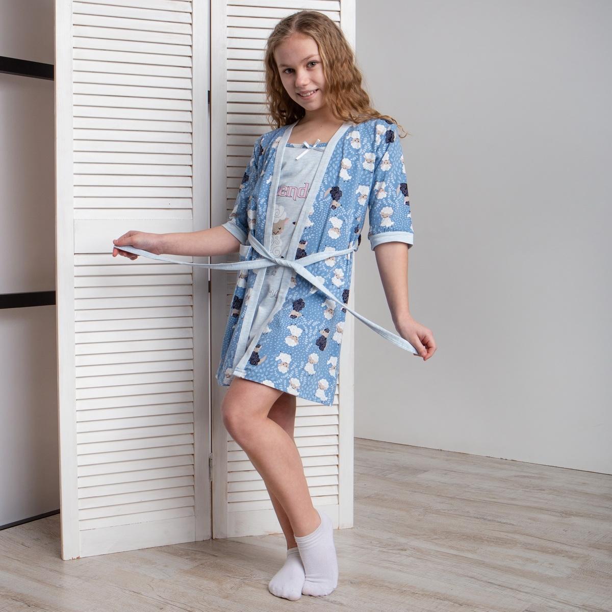 Комплект девичий сорочка и халатик с барашками