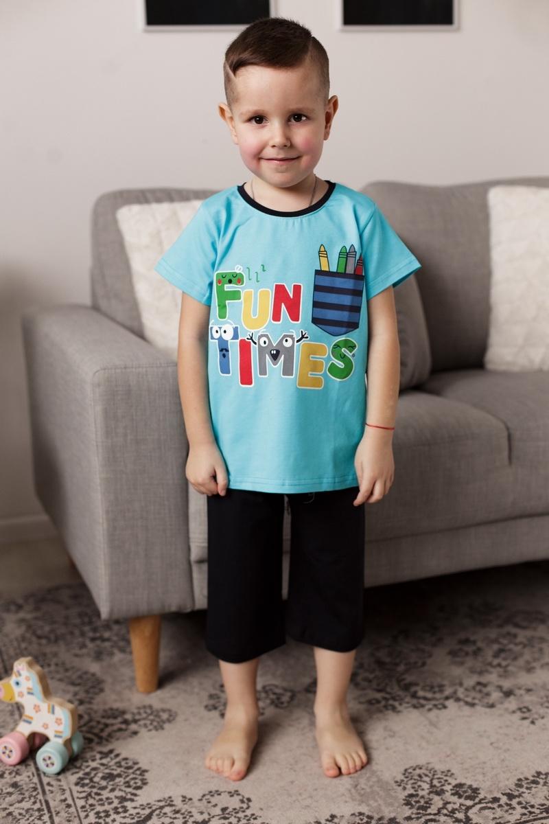 Легкая пижама с шортиками капри для мальчика