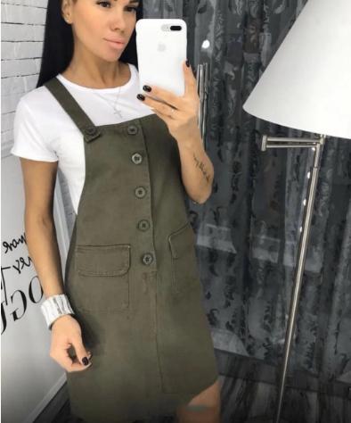 Симпатичный женский летний комплект сарафан+футболка