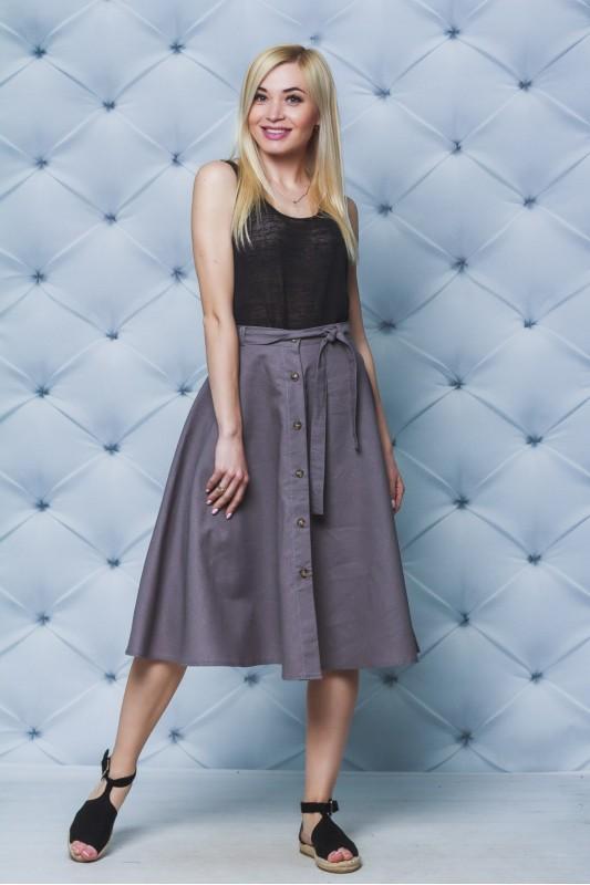 Шикарная женская юбка из льна на пуговицах