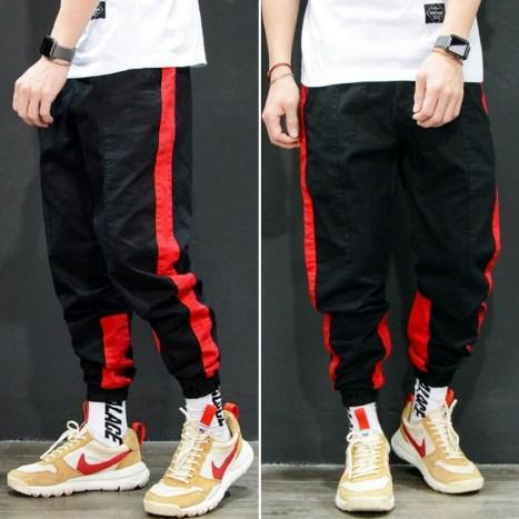Стильные мужские спортивные брюки джогеры с полосками