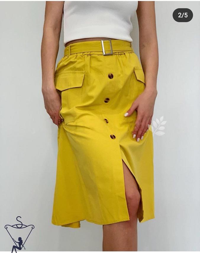 Шикарная яркая женская юбка-миди на пуговицах