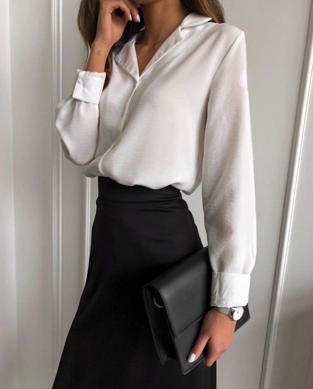 Шикарная женская классическая рубашка на пуговицах