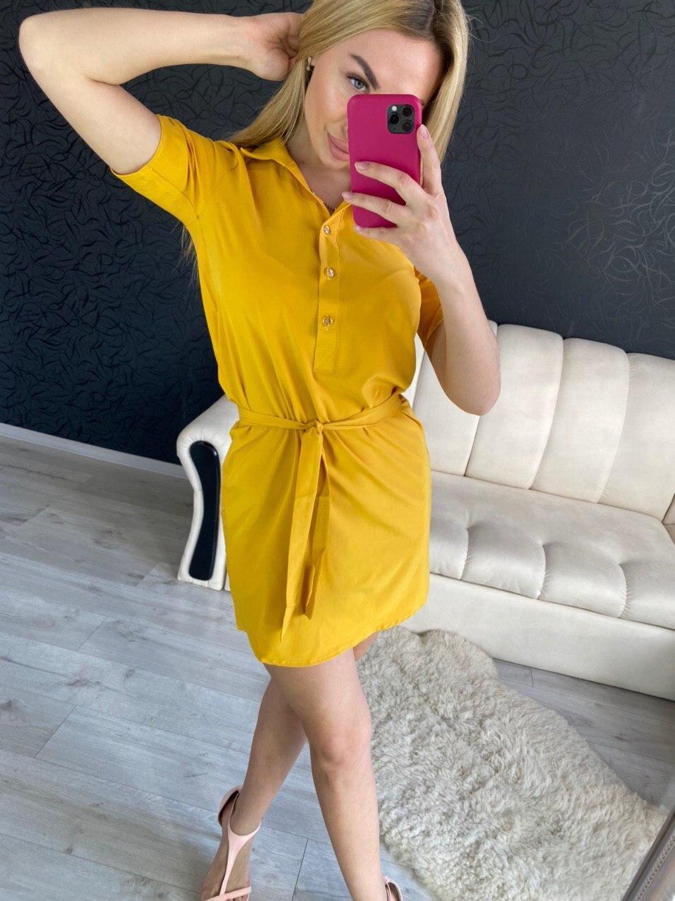 Стильное летнее женское платье-рубашка с коротким рукавом
