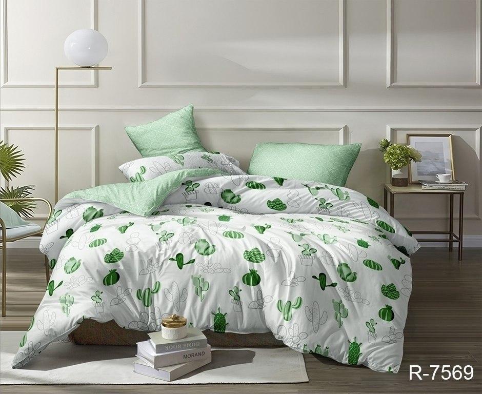 зеленый комплект постельного белья с кактусами