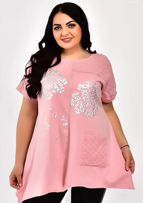 Шикарная женская удлиненная футболка больших размеров