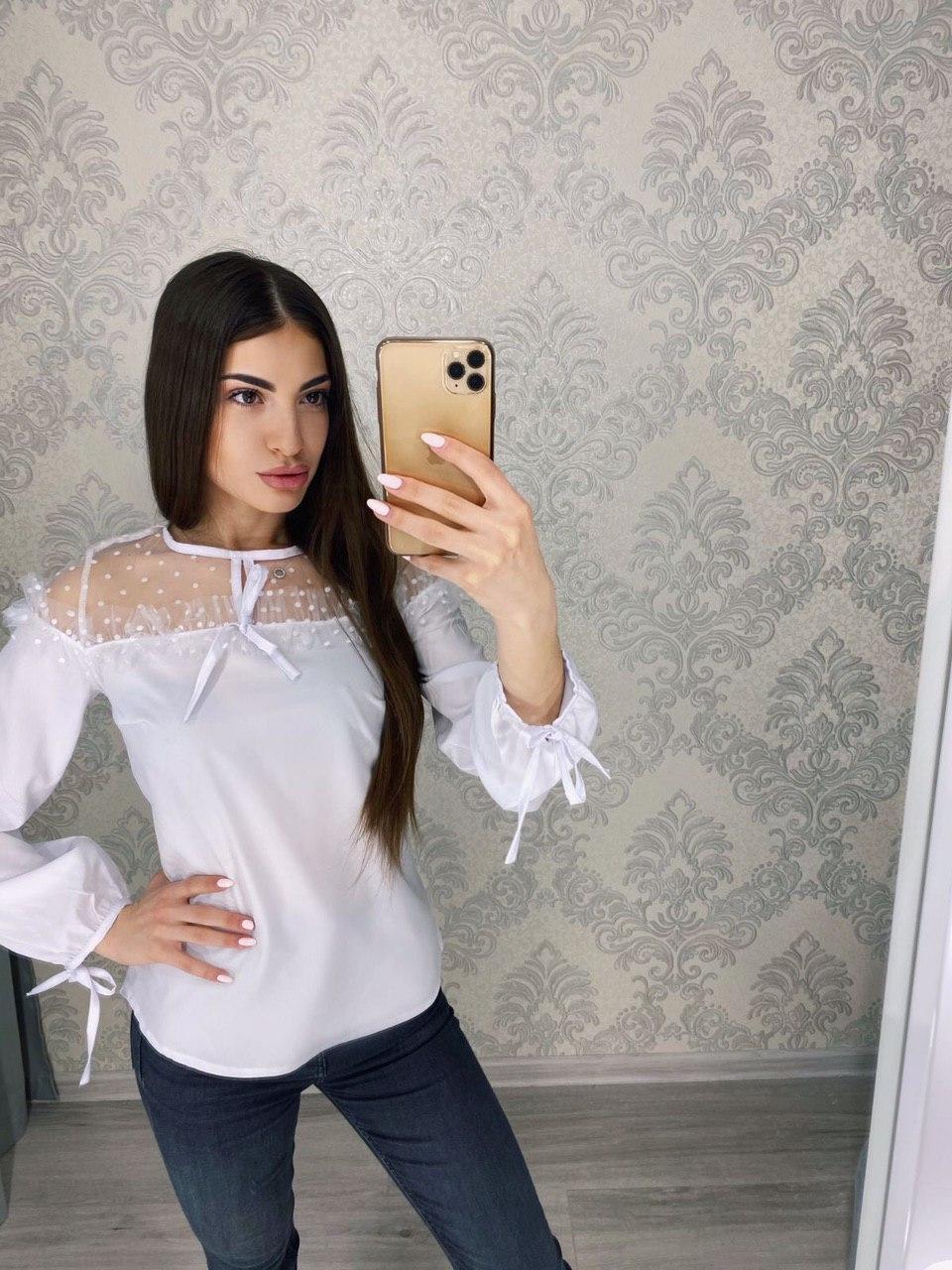 Классная женская блузка с прозрачным верхом