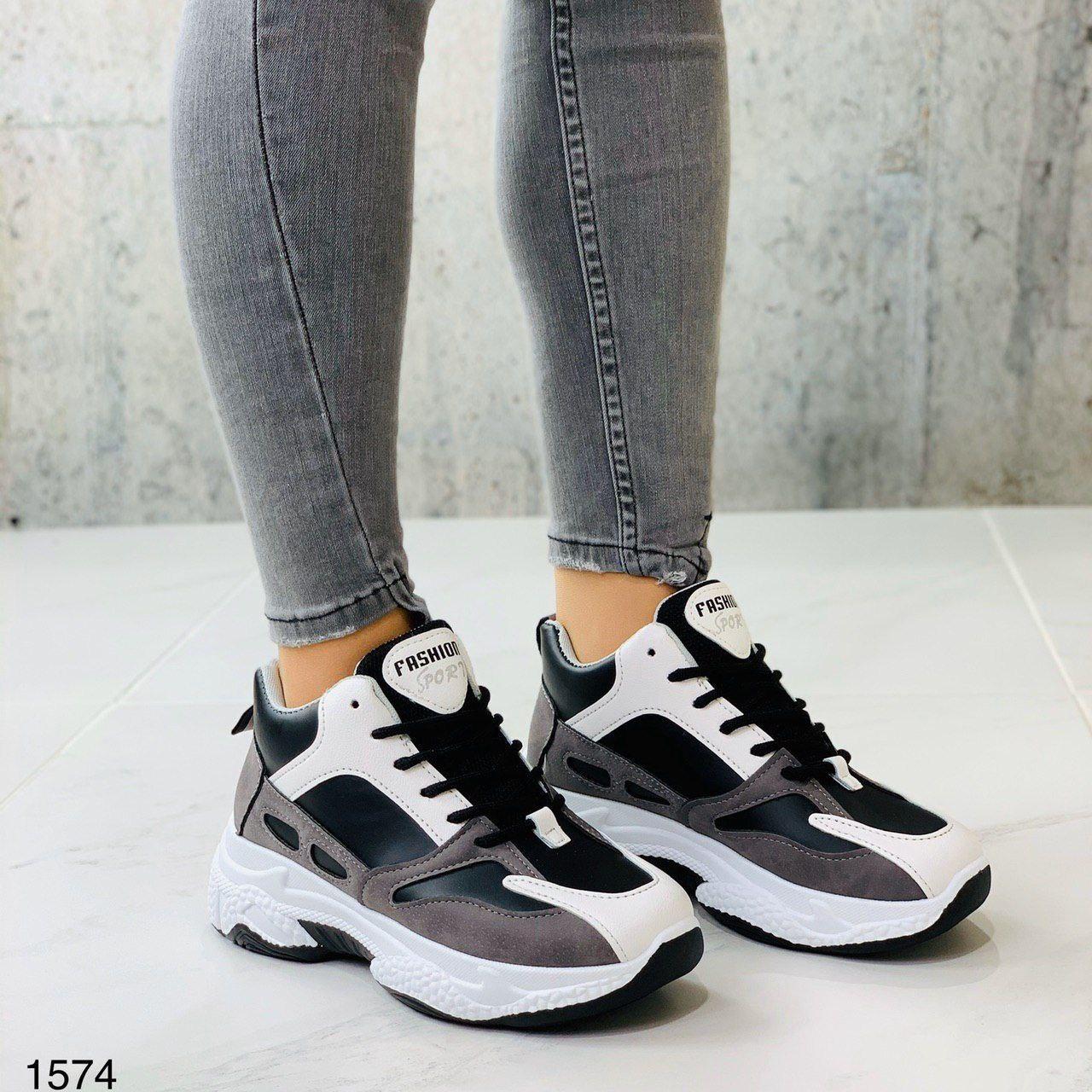 Крутые женские кроссовки из качественной искусственной кожи