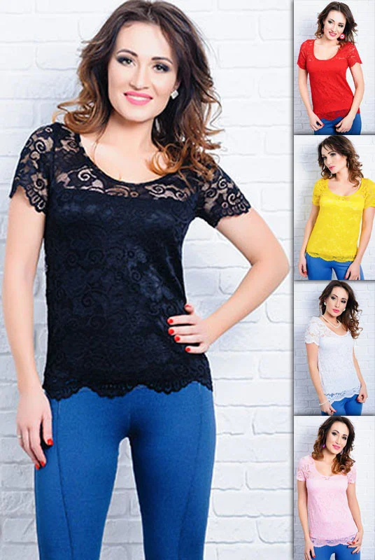 Симпатичная женская гипюровая летняя футболка больших размеров