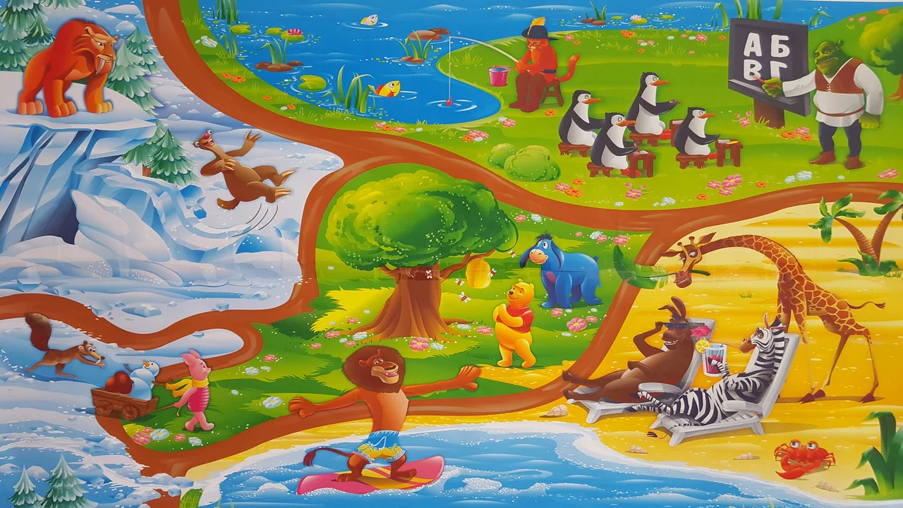 Детский коврик 2000×1200×12мм  теплоизоляционный, развивающий, игровой коврик