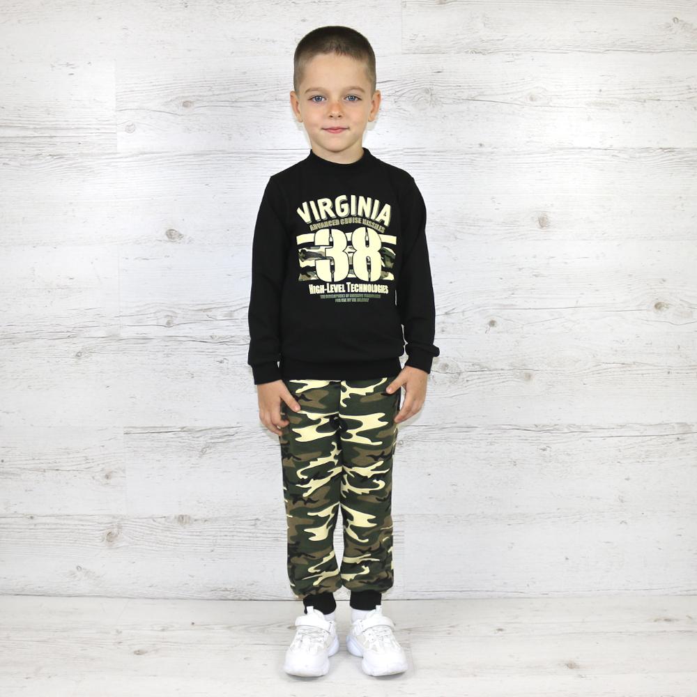 Клёвый костюм для мальчика из джемпера и камуфляжных штанишек на манжете