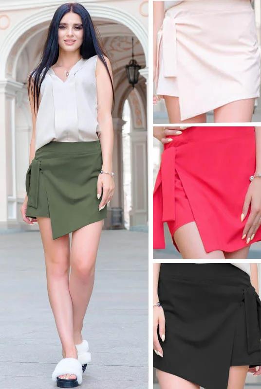 Обалденная стильная женская юбка-шорты из софта