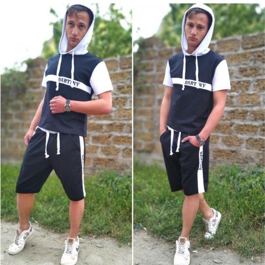 Мужской летний спортивный костюм с капюшоном больший размеров
