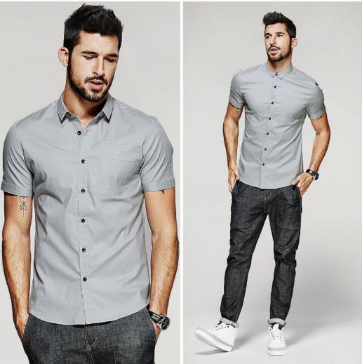 Шикарная и стильная серая мужская рубашка