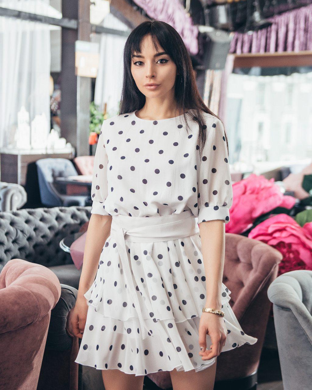 черное платье в горох, белое платье в горох