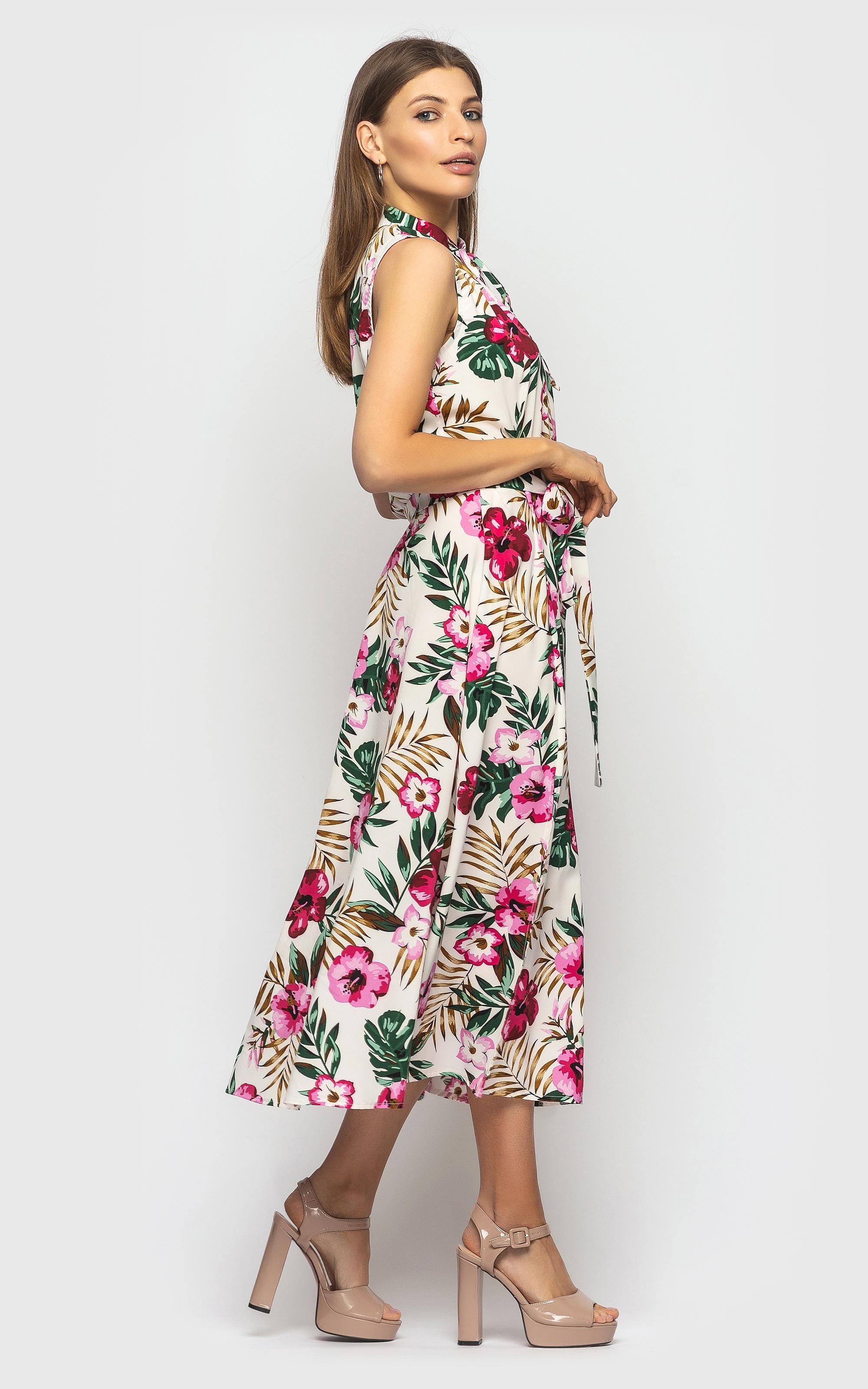 Шикарное летнее женское платье-миди в цветочек без рукавов