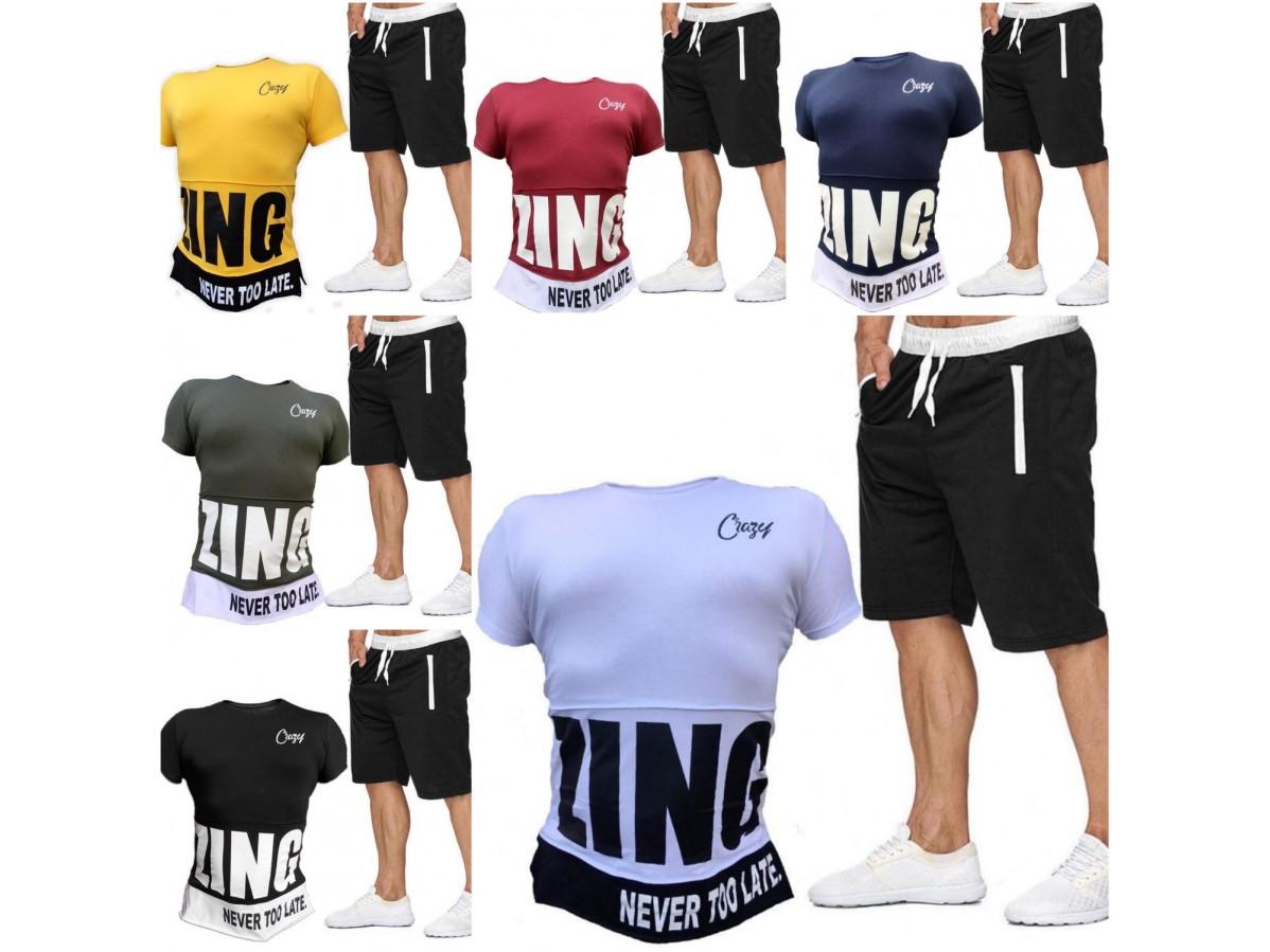Модный мужской летний спортивный костюм больших размеров