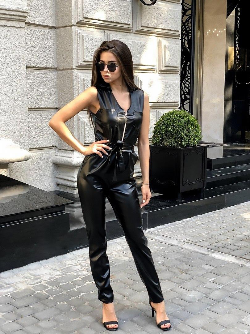 женские модные комбинезоны, женский кожаный комбинезон