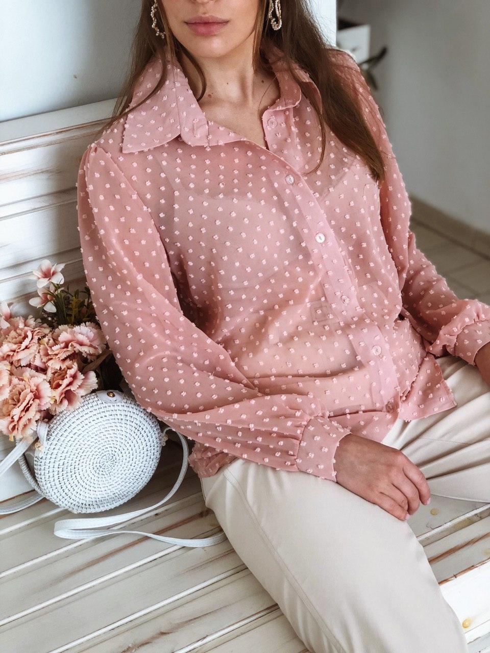 Красивая женская нарядная блуза из органзы в горошек