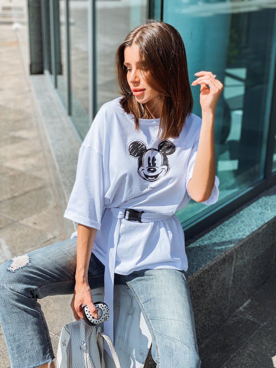Классная стильная женская футболка с пояском в комплекте