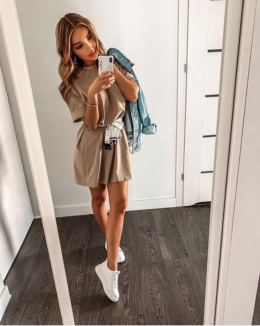 Супер крутое женское трендовое платье-туника с пояском в комплекте