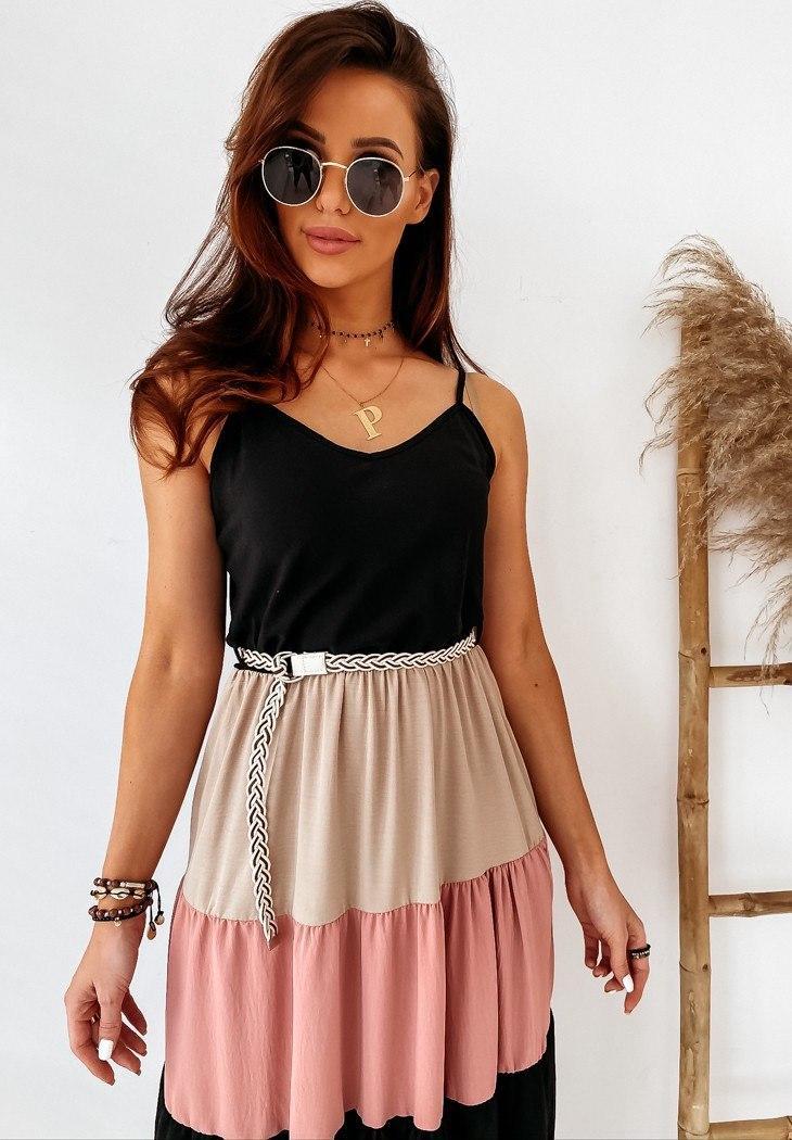 Романтичное летнее длинное платье с разноцветной отрезной юбкой