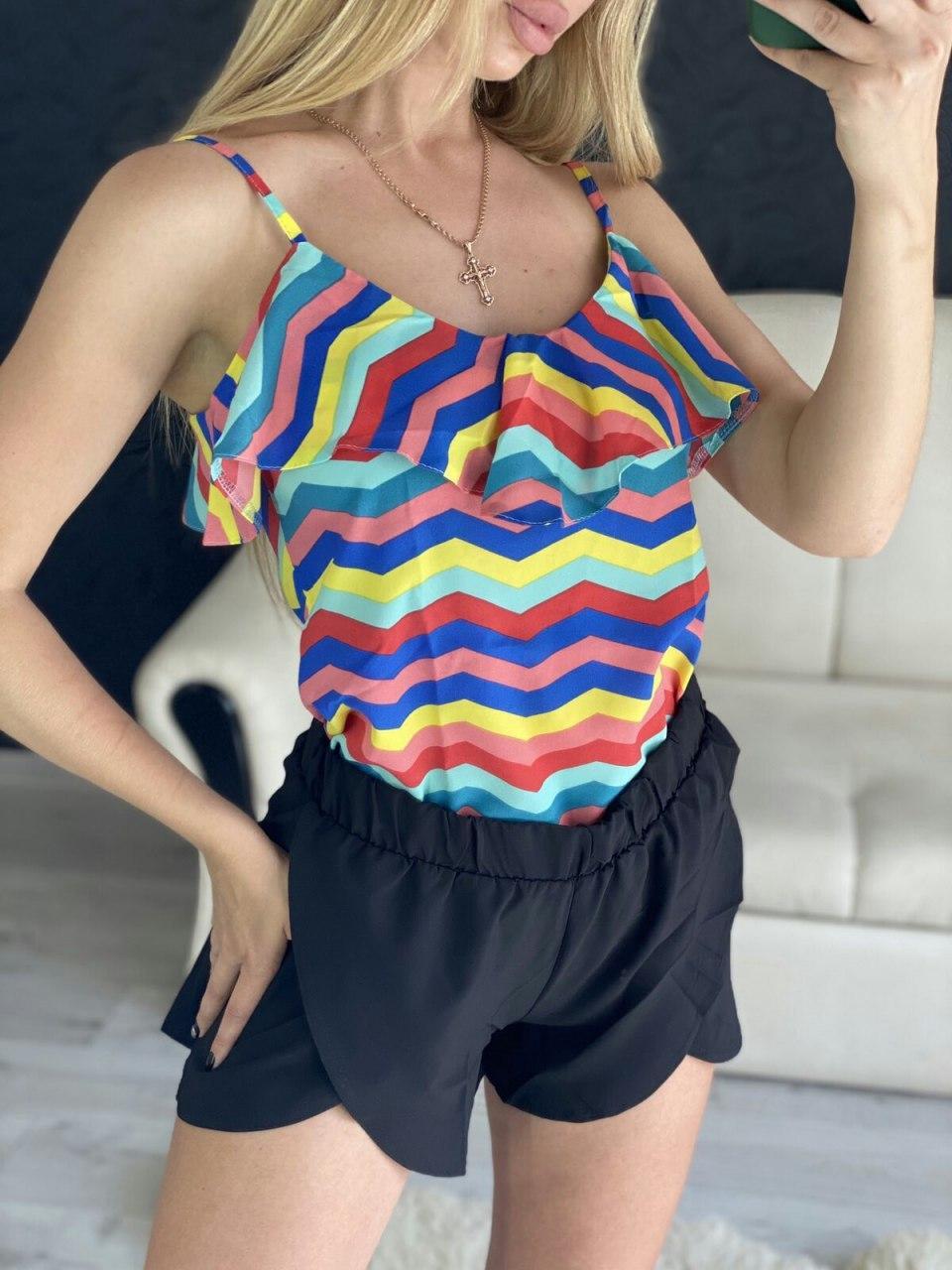 Яркий летний женский костюм майка+юбка-шорты