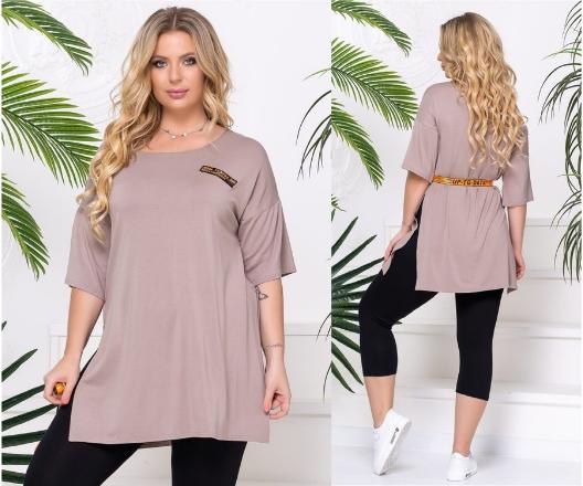 Классная женская футболка-туника больших размеров