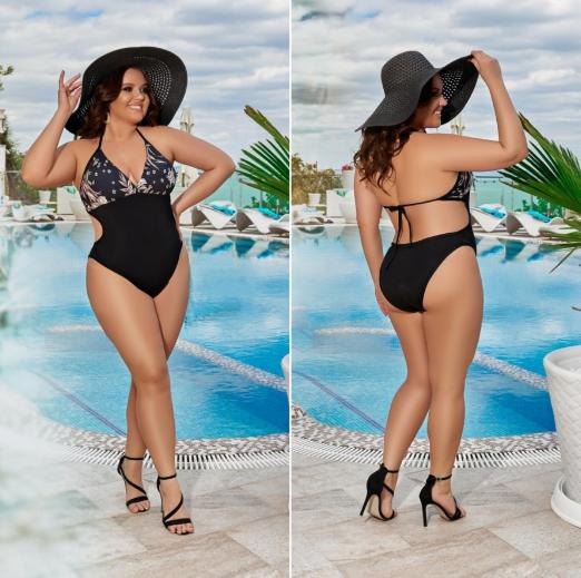 Стильный женский слитный купальник больших размеров