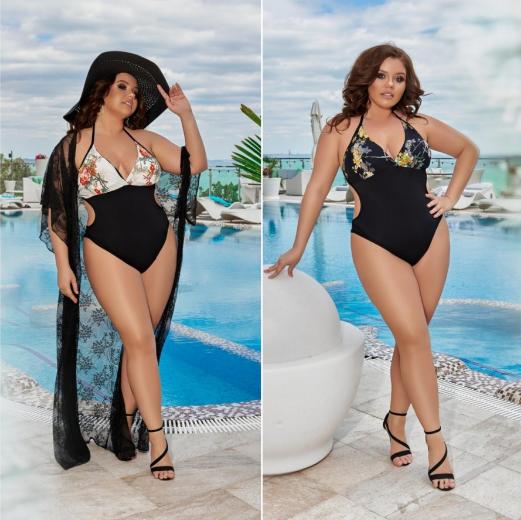 Модный слитный женский купальник с цветами больших размеров