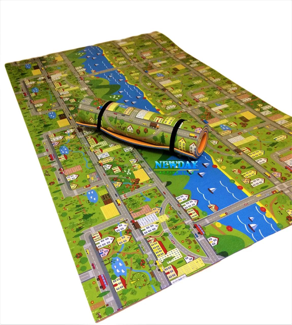 Квадратный детский коврик «Парковый городок» разме ...