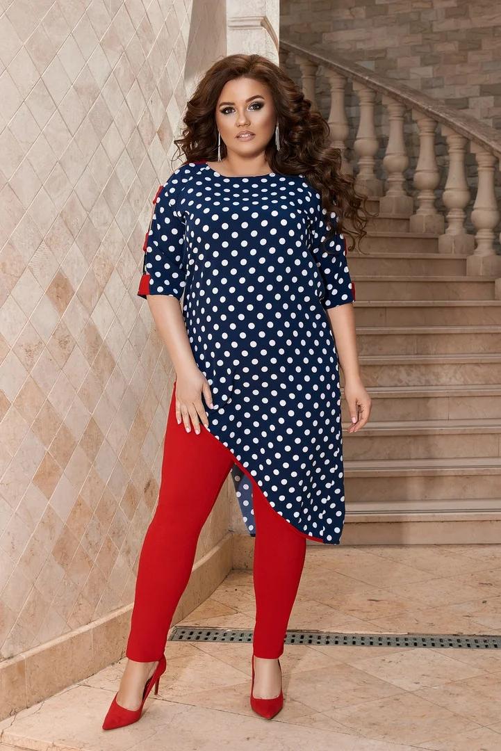 Нереально яркий женский летний костюм с туникой в горошек больших размеров