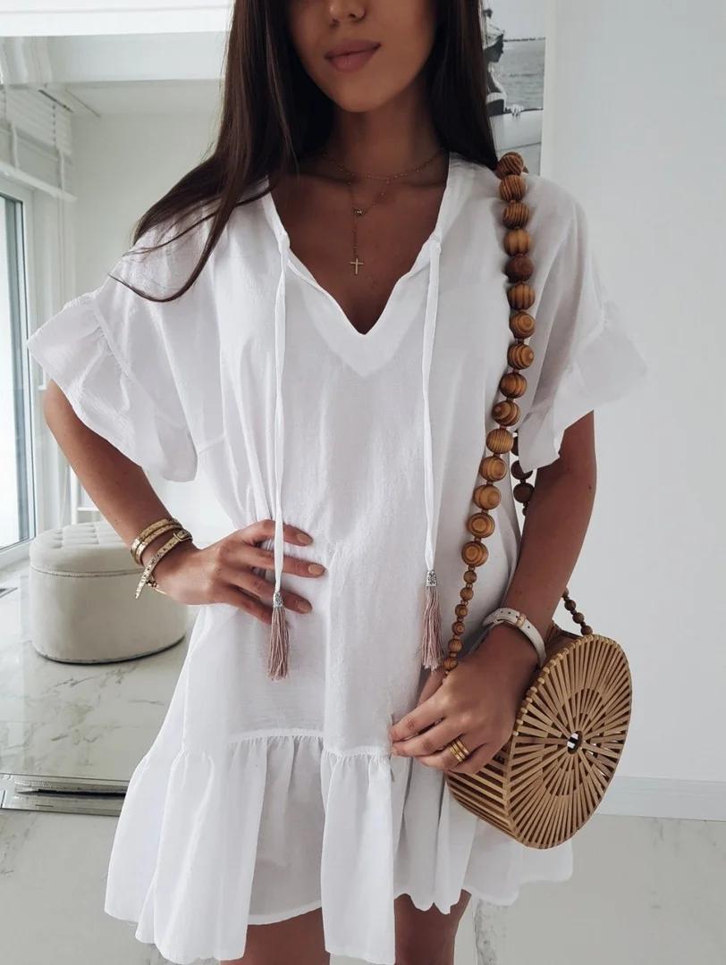 Очень легкое летнее женское короткое платье свобод ...