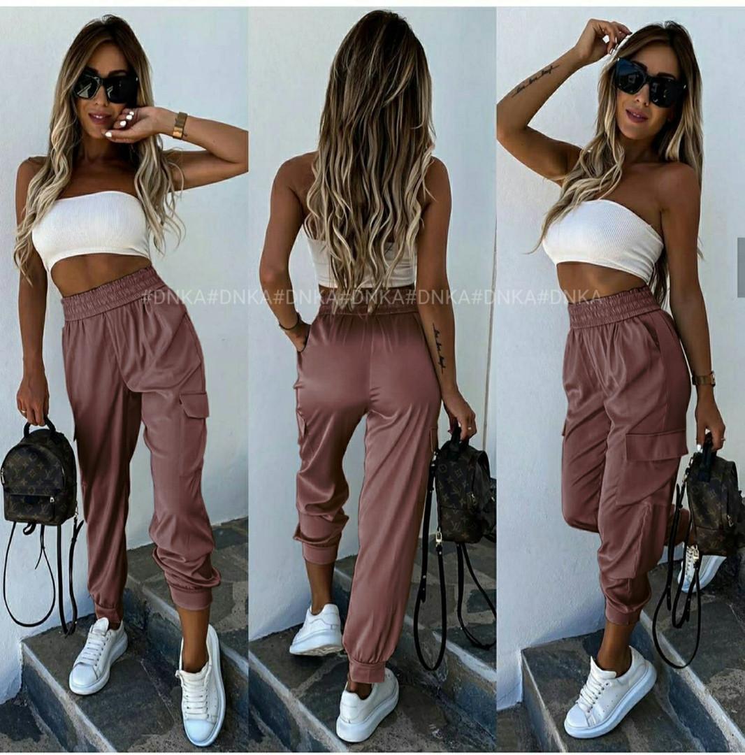 Шикарные летние легкие женские шелковые брюки боль ...