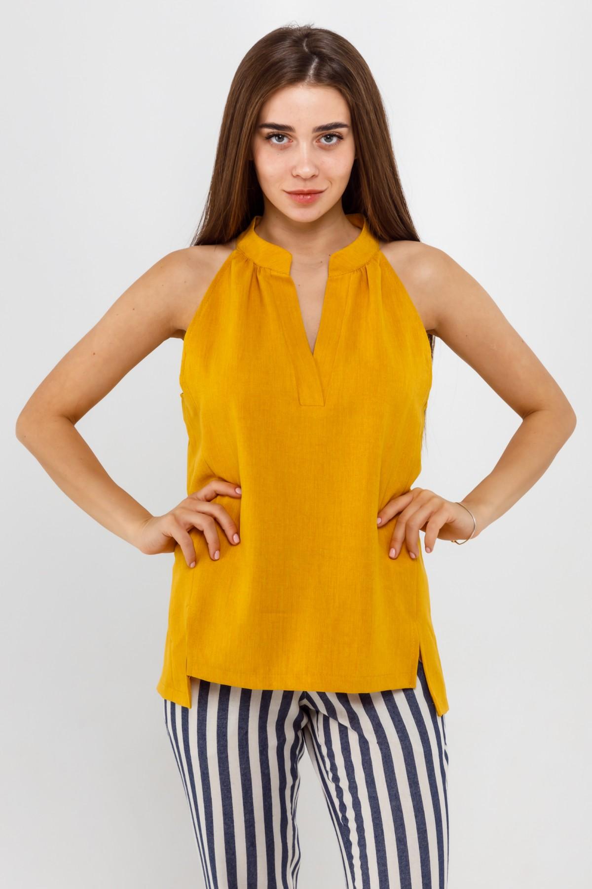 Свободно скроенная женская блуза без рукава из льна