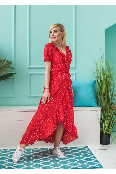 Романтичное женское летнее платье на запах в горошек