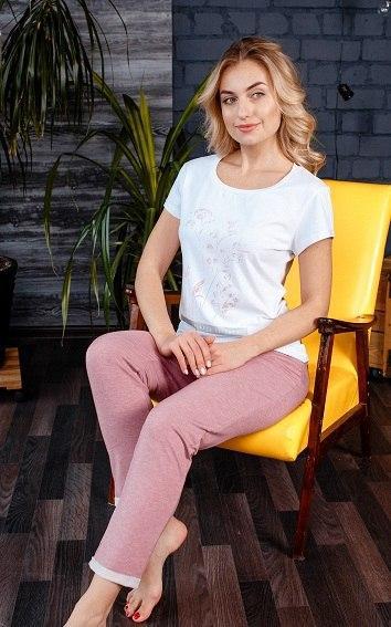 Красивая женская натуральная пижама с укороченными штанами