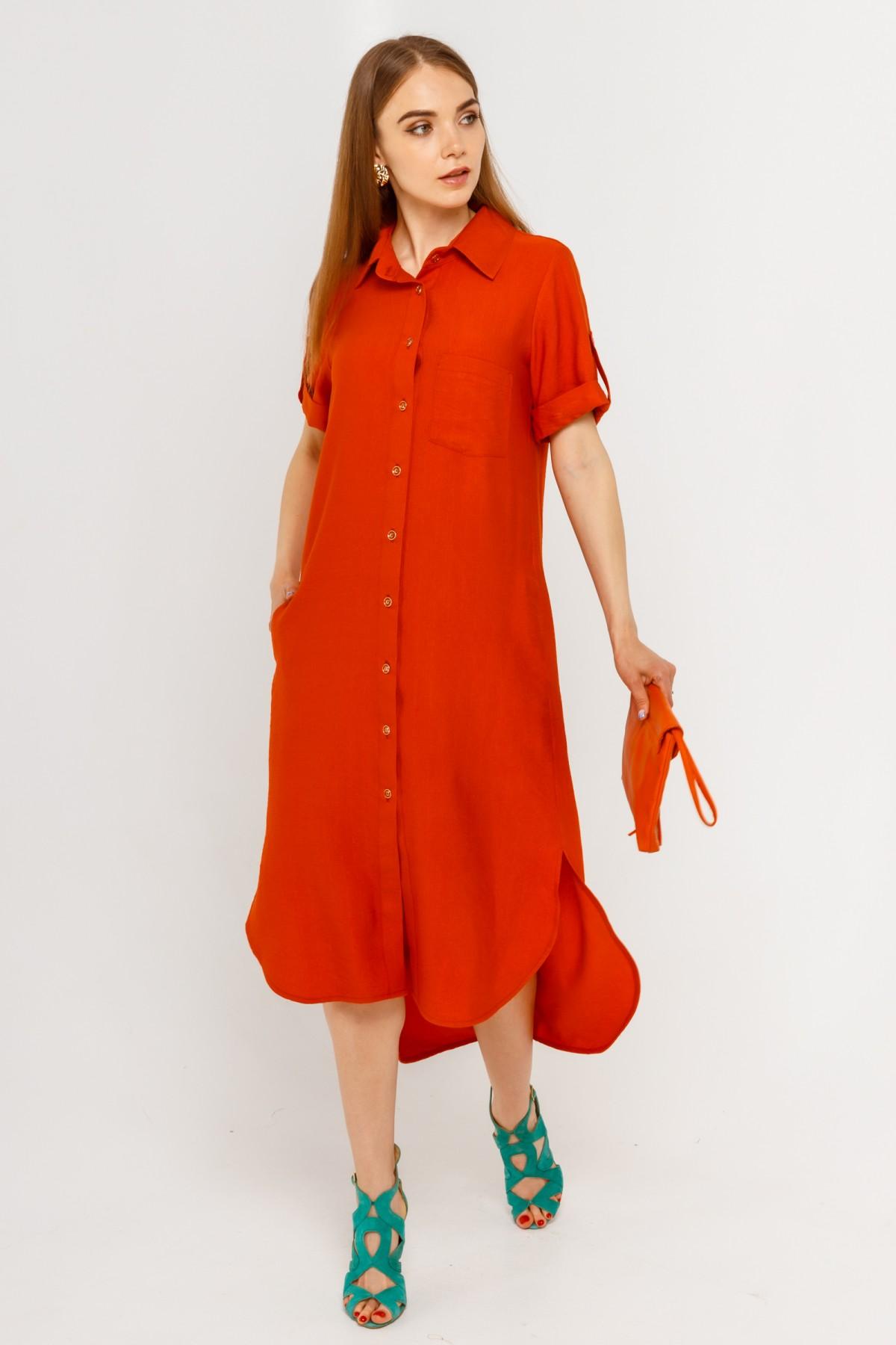 Классное летнее женское платье-рубашка с удлиненной спинкой больших размеров